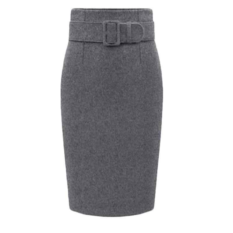 Automne hiver femmes grande taille épais laine jupes Slim ceinture bureau longue Midi jupe étape a-ligne jupe Saias Longa Faldas Mujer