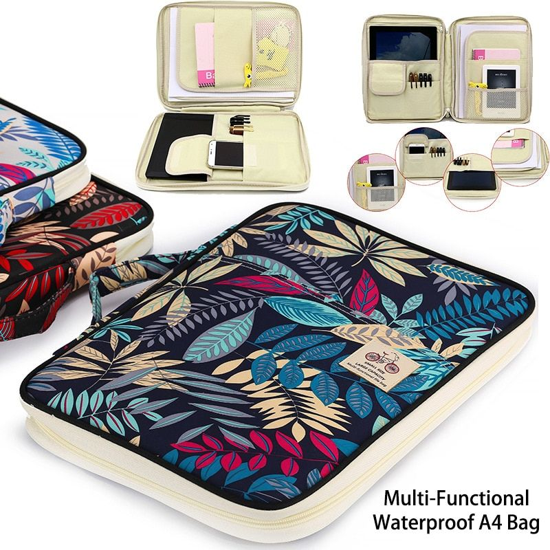 Chinese style Multi-functional A4 Document bags Embroidery Waterproof Oxford Cloth <font><b>Storage</b></font> bag For Notebooks Pens iPad Computer