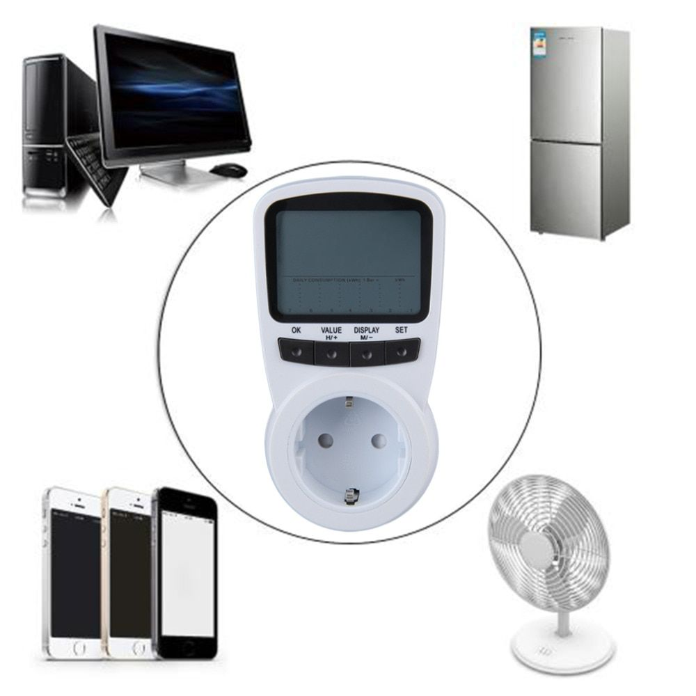 Ts-1500 электронный счетчик энергии ЖК-дисплей энергии Мониторы плагин счетчик электроэнергии для ЕС Plug Мониторы центров магазине