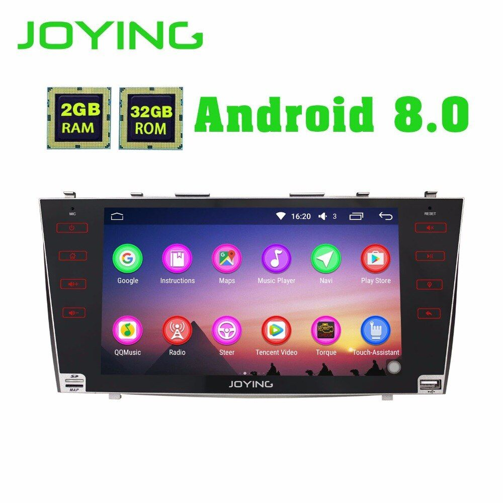 JOYING 2GB RAM Android 8.0 Car stereo BT Radio player for TOYOTA CAMRY touch Screen steering-wheel GPS Navi head unit for AURION