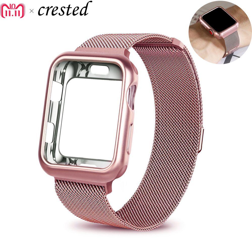 case+strap for Apple Watch Band 42mm 38mm iwatch series 3/2/1 bracelet wrist Stainless Steel Mesh Milanese Loop metal watchband