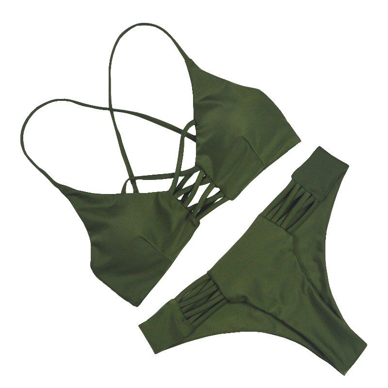 2019 femmes Bandage string brésilien Bikinis maillots de bain femme Sexy vert Bandeau Push up maillot de bain Bikini ensemble maillots de bain Biquini