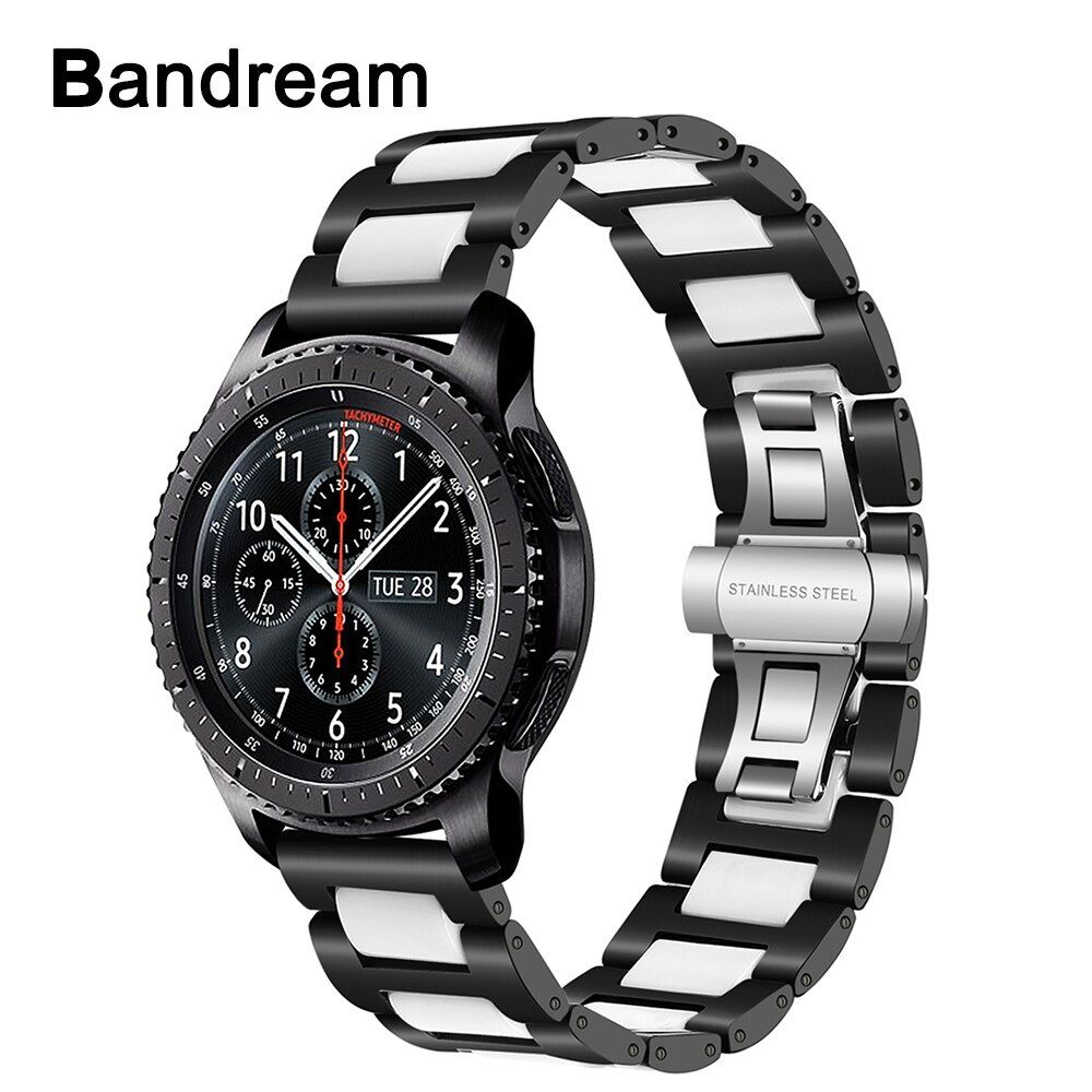 Ceramic + Stainless Steel Watchband 22mm for Samsung Gear S3 Classic Frontier R760 R770 Amazfit Watch Band Quick Release Strap