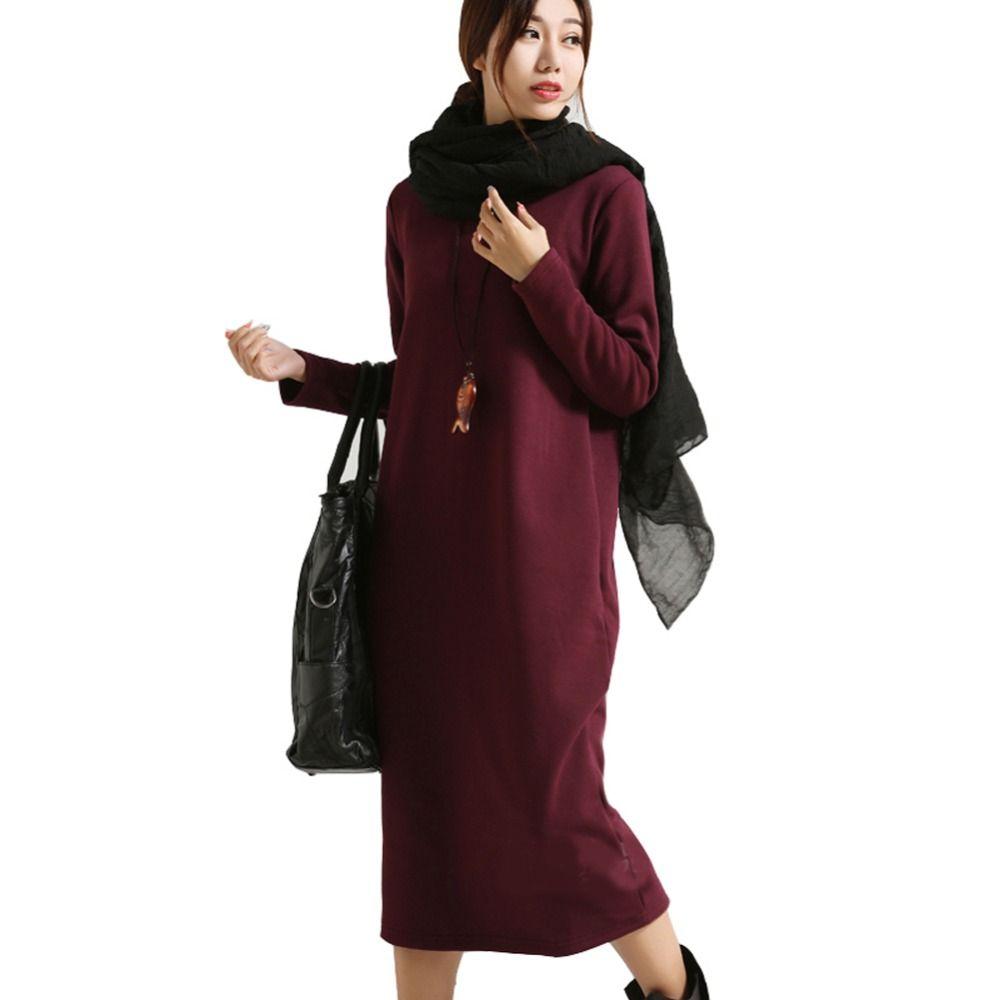 SCUWLINEN Winter Dress 2018 Vestido Women Dress Plus Size Velvet Thickening Thermal Basic Dress Long Sleeve Solid Warm Dress S59