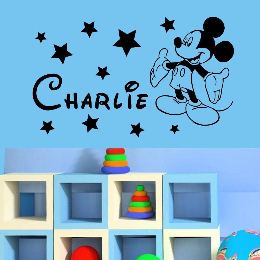 YOYOYU Mickey Minnie Mouse Personalizado Nombre Infantil Chicos Chicas Dormitorio Nursery Niños Etiqueta de La Pared Del Arte Del Vinilo Sticker Para la Decoración Casera