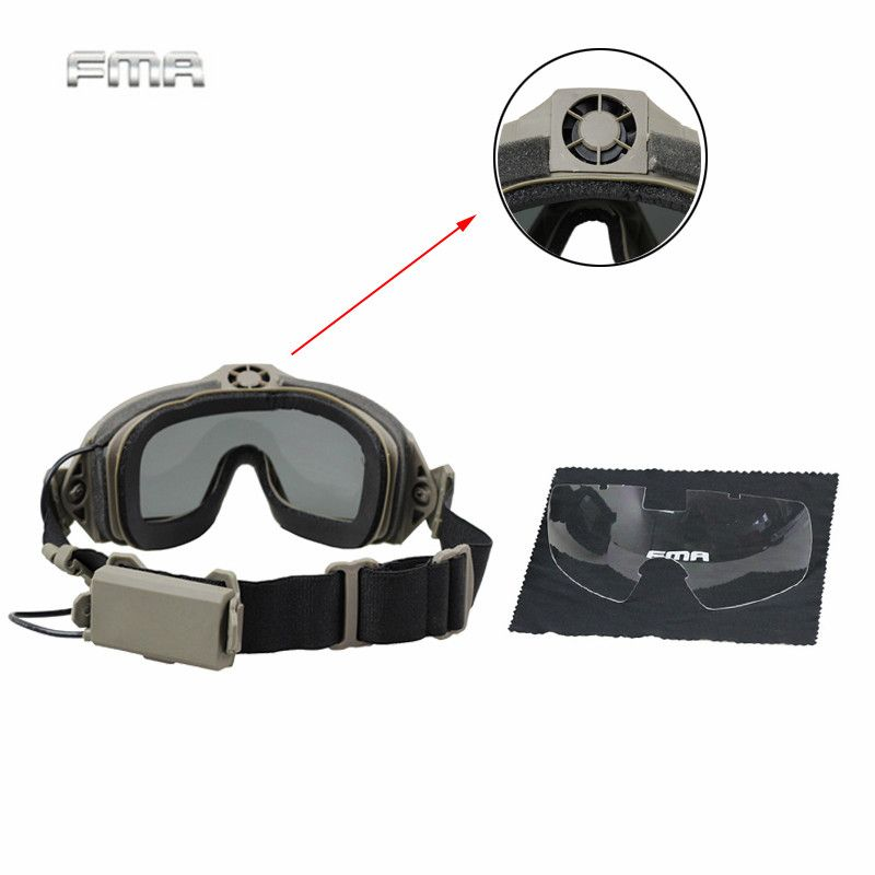 TB-FMA Tactical Googles Airsoft Paintball Eyewear Protection LPG01BK12-2R Regulator Updated Fan Version Goggle Windproof Glasses