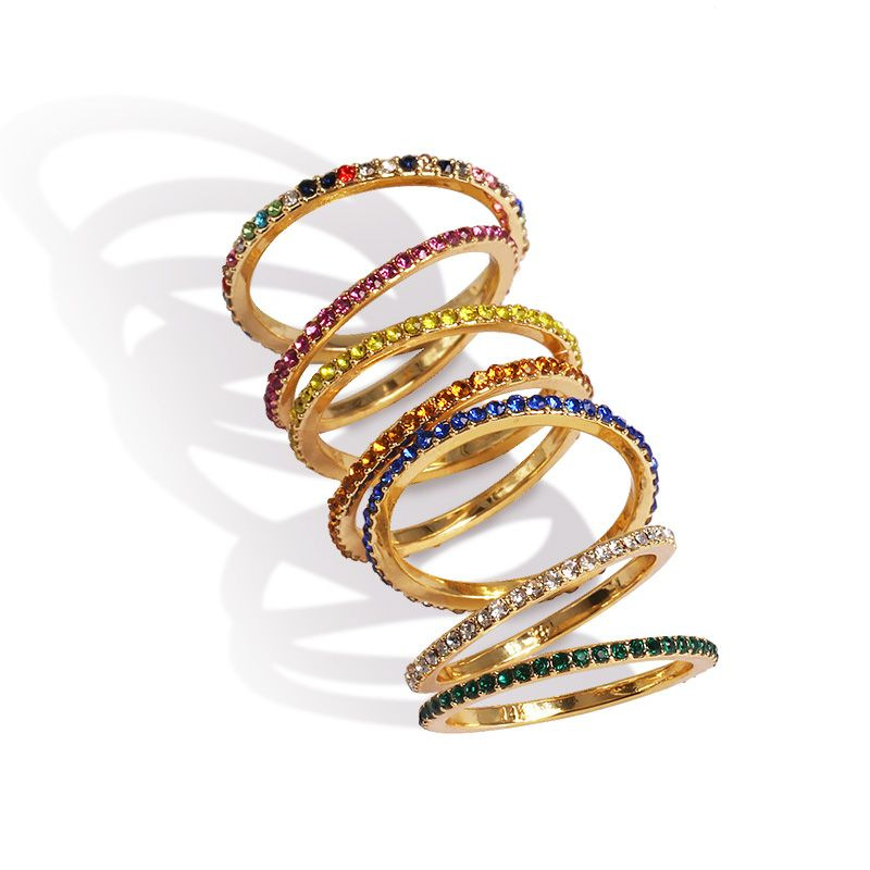 7 colors gold black multi color eternity band delicate rainbow cz cute girl women colorful beautiful full cz stack skinny ring