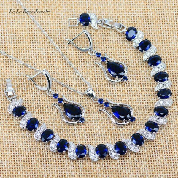 L&B Blue zircon 925 logo Silver Color Jewelry Sets For Women Wedding white crystal Necklace/Pendant/Earring/Bracelet