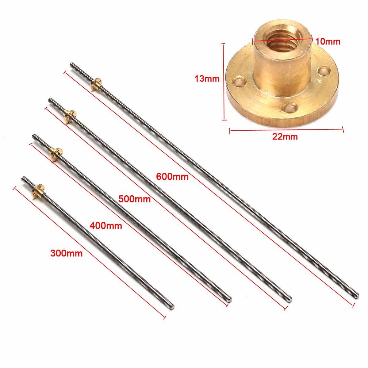 8mm gewindestange Splitter edelstahl gewindespindel 300/400/500/600 MM + T8 Messing mutter Für CNC-3D-DRUCKER Reprap Zubehör