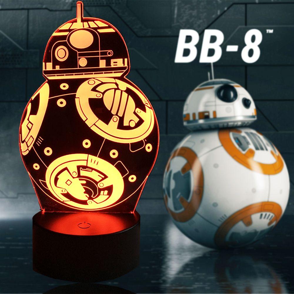 Nueva historieta Star Wars 3D lámpara bombilla led figura de acción regalo Juguetes bb-8 bola robot ánimo RGB noche luz niños tabla USB Iluminación