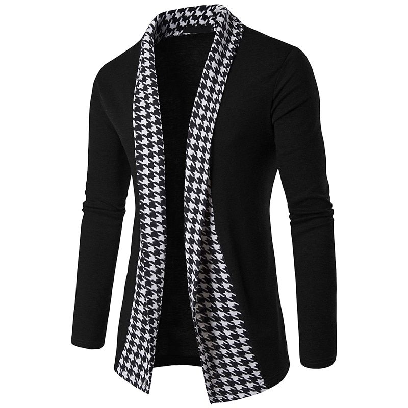 2018 New Fashion Autumn Black&White Plaid Men's Sweaters High Quality Cardigan Casual Coat Men Sweater Knitwear Dropshipping