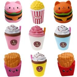 2018 Jumbo Squeeze Toys Children Slow Rising Antistrss Toy Cat Hamburger Fries Squishies Stress Relief Toy Funny Kids Gift Toy