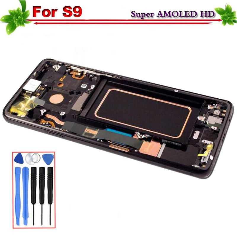 Super Amoled for SAMSUNG Galaxy S9 G9600 G960f LCD Display Touch Screen Digitizer Assembly Replacement With Frame Free Tools