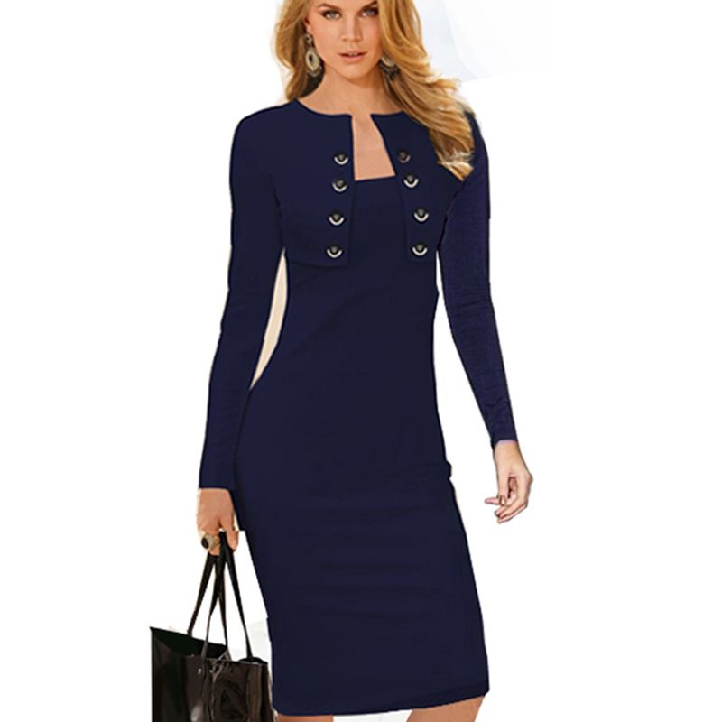 Autumn Winter Women <font><b>Business</b></font> Casual Sliming Pencil Dresses Elegant Long Sleeve Office Ladies Wear To Work EB10