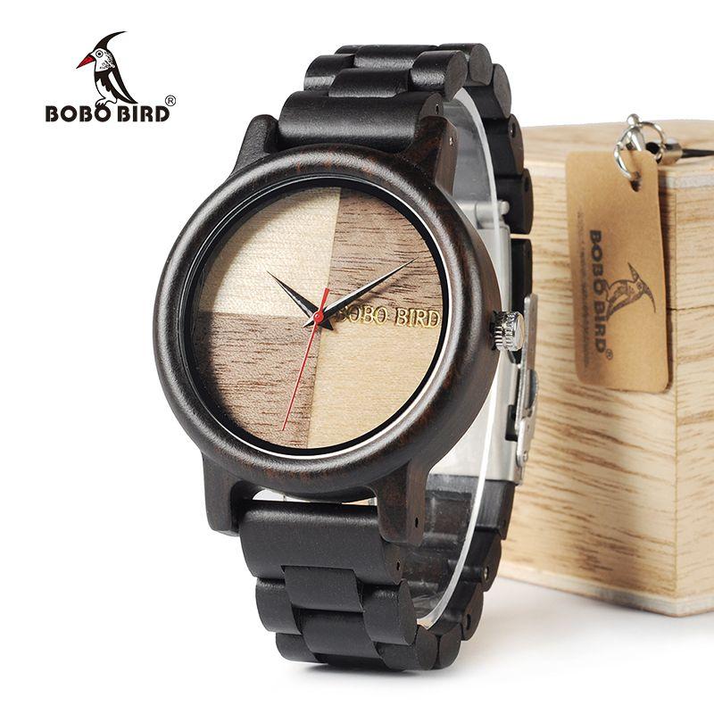 BOBO BIRD WN07 Newest Wooden Watches Ebony Wood Band Natural Wood Face Quartz Watch For Men Women Accept OEM Customize
