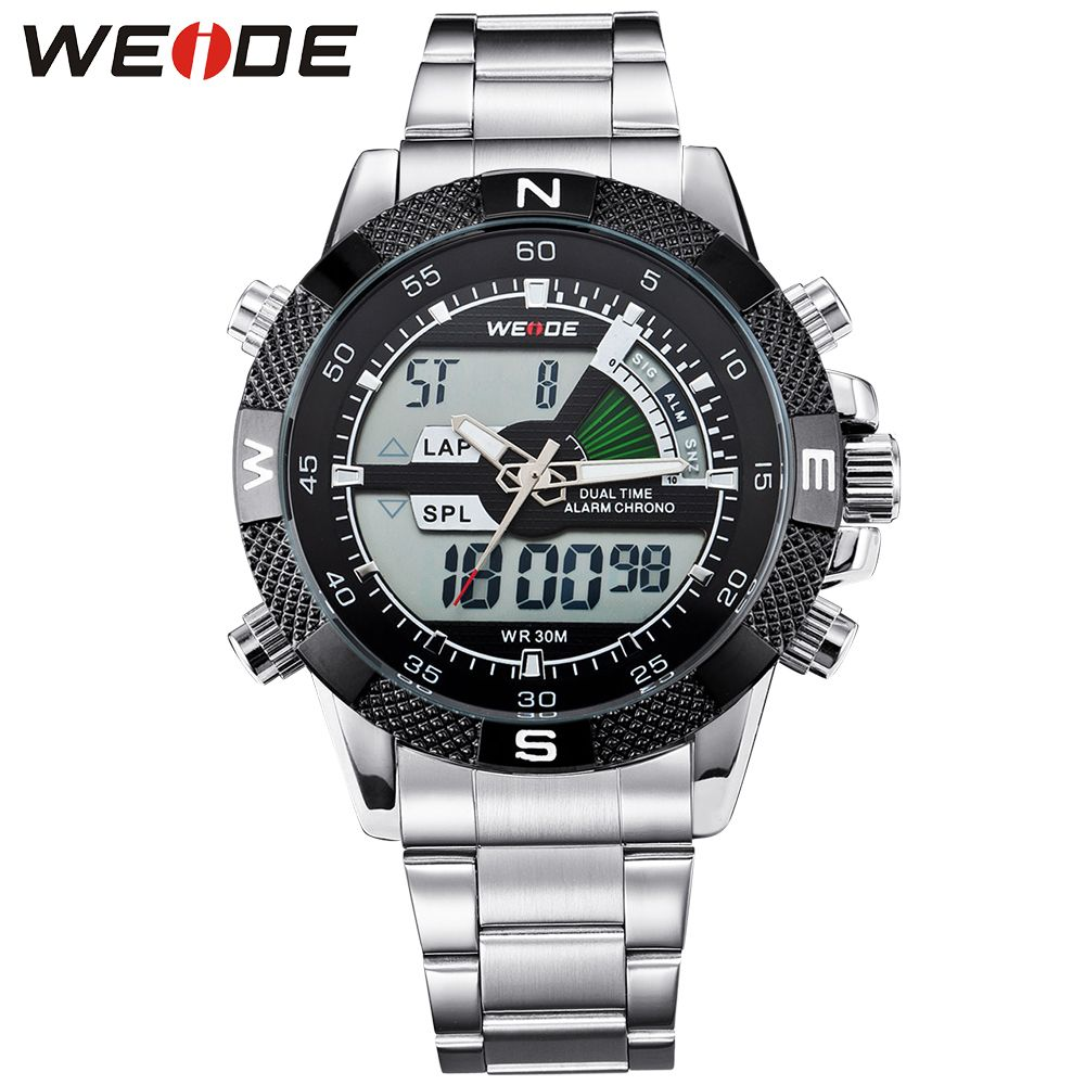 WEIDE Men Sports Analog Digital Backlight Date Stopwatch Watch Multifunction Military Watch for Men Quartz Relogio Masculino