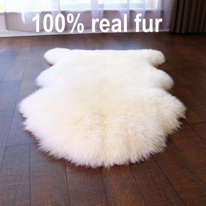 Qualité sélectionnée vraie peau de mouton nouvelle-zélande tapis en peau de mouton, beige blanc shaggy fourrure de mouton décoration canapé coussin, tapis de fourrure