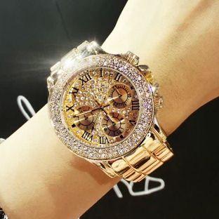 2019 nouveau haute qualité luxe cristal diamant montres femmes or montre bande en acier Rose or étincelant robe montre-bracelet livraison directe