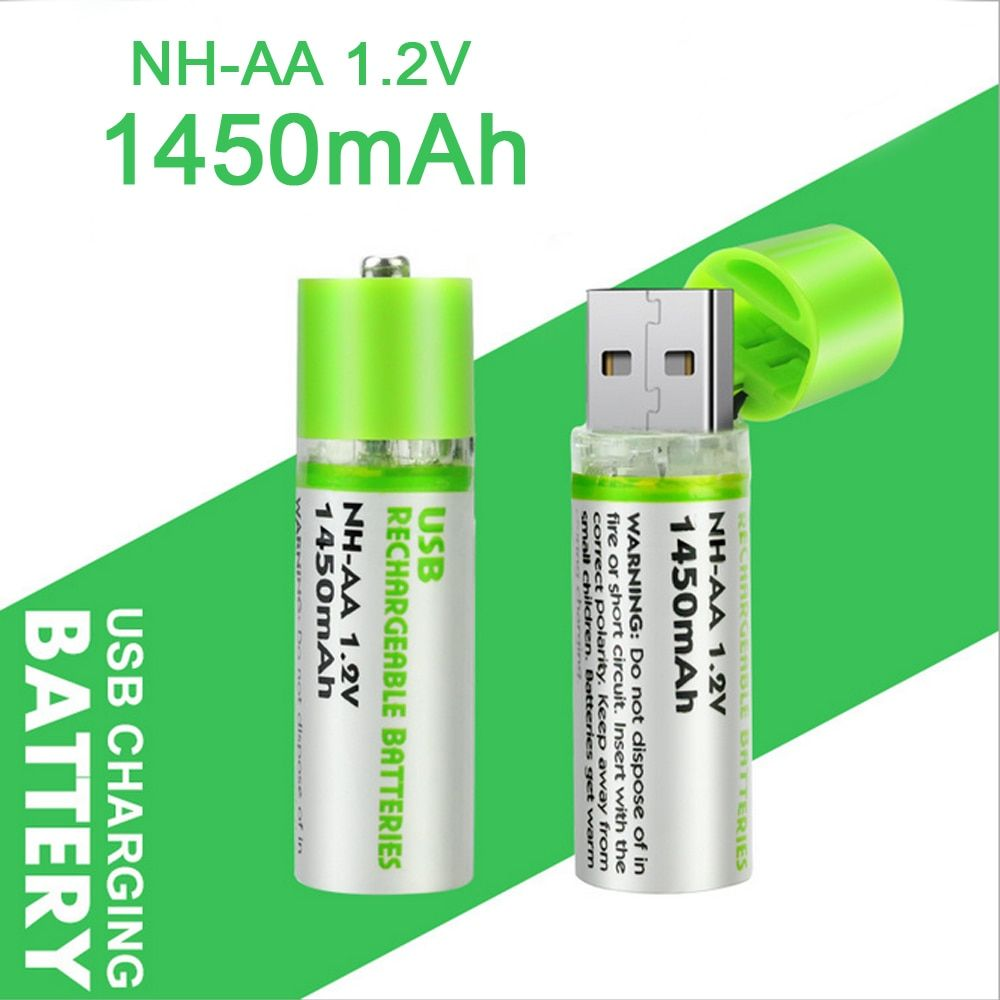 Reusable USB Rechargeable Battery AA 1.2V/1200mAh Ni-MH Environmental Protection Battery Charging Batteries for Electronics