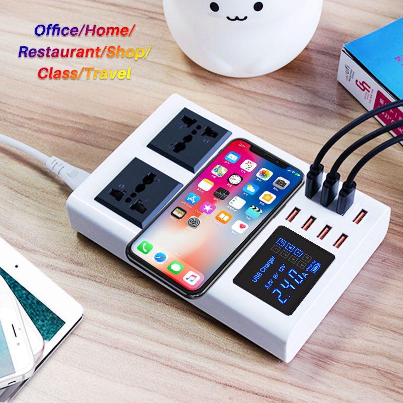 8 Ports QI chargeur rapide sans fil station de charge rapide affichage led téléphone portable mur usb chargeur pour iphone 6 7 8 7plus X xiaomi