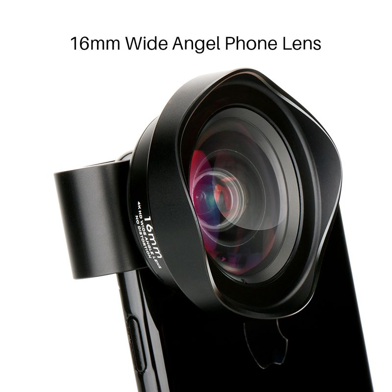 Pholes 16mm 4K HD Wide Angle Mobile Phone Lens Clip-On Zoom Camera Lens Smartphone Lenses for Redmi iPhone X 8 7 Samsung S8