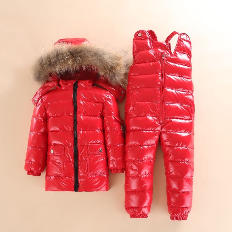 Winter Children Down Suit Long Zipper Solid White Duck Down Boys Girls Down Jackets Thickening Jacket + Pants Two piece Clothes