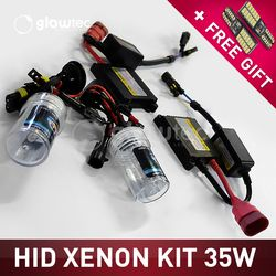 35W DC HEADLIGHT HID KIT SLIM BALLAST Bulbs H1 H3 H7 H8/9/11 9005 9006 ALL COLORS 4300K 6000K 8000K 10000K 12000K GLOWTEC