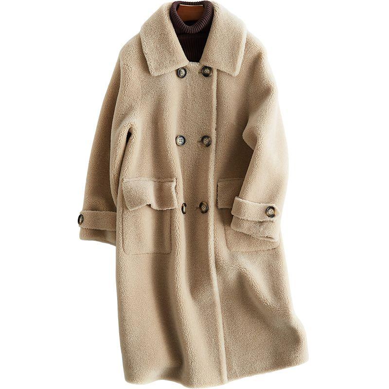 100% wolle Jacke Herbst Winter Mantel Frauen Kleidung 2018 Real Pelzmantel Koreanische Schafe Lammfell Pelz Lange Mäntel PU Futter ZT812