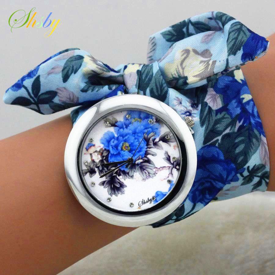 Shsby 2017 Nuevas Señoras del diseño del paño de la flor de moda de las mujeres reloj de vestir de alta calidad de la tela dulce reloj muchachas reloj