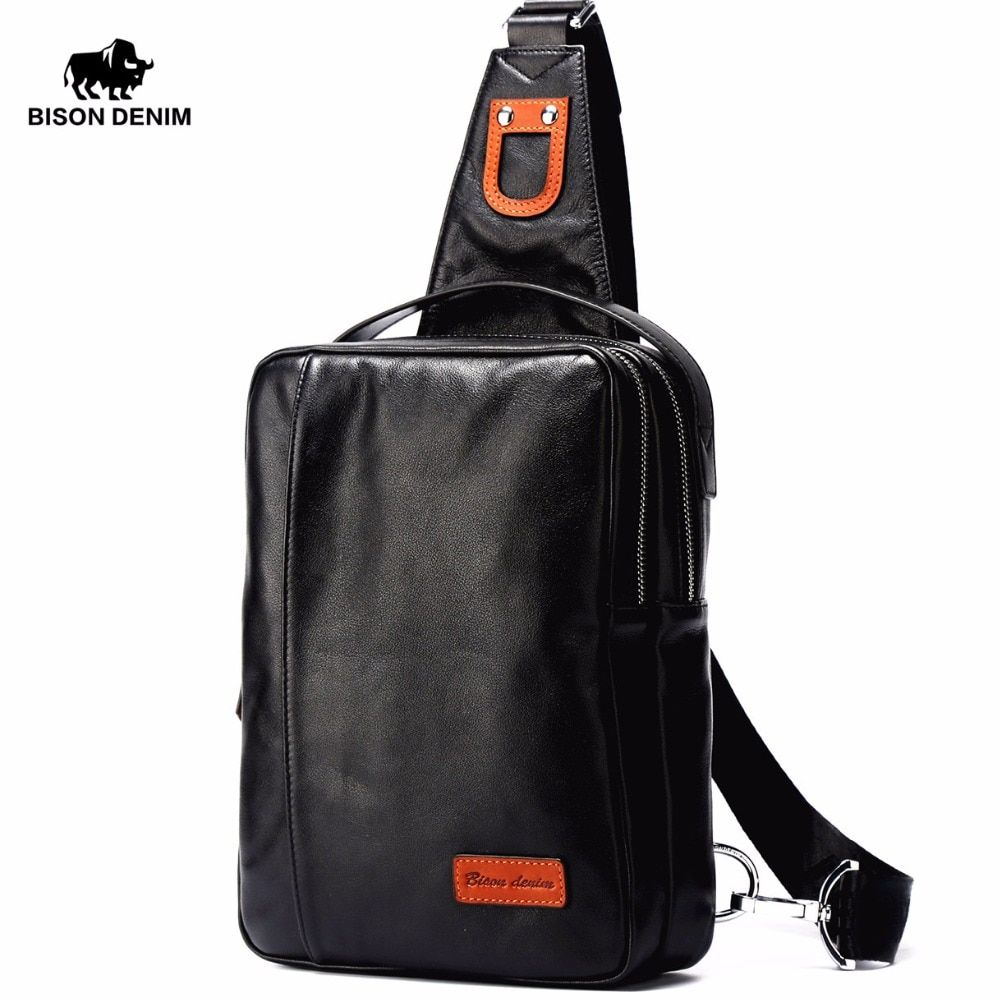 BISON DENIM Small Chest Bag Genuine Leather Ipad ProMens Crossbody Bags Black Soft Cowhide Casual Chest Sling Bag For Male N2425