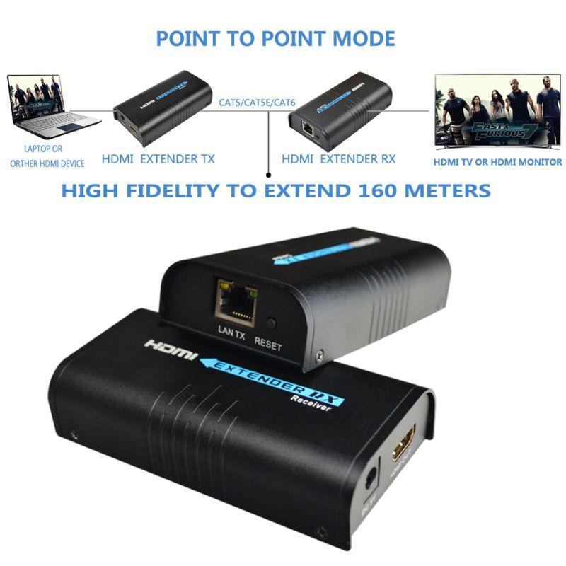 Mirabox HDMI répéteur HDMI extender peut étendre 120 m (393ft) par Rj45 cat5/cat5e/cat6 soutien 1080 P peut travailler comme HDMI splitter