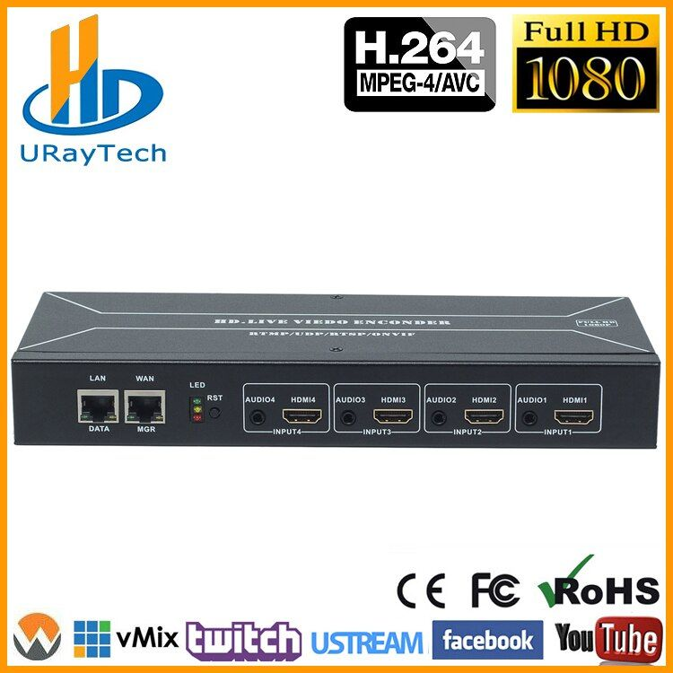 MPEG-4 H.264 HDMI Zu IP Video Stream Encoder Live-Streaming HD Video IPTV Encoder 4 Kanäle HDMI Zu HTTP RTSP RTMP Encoder H264