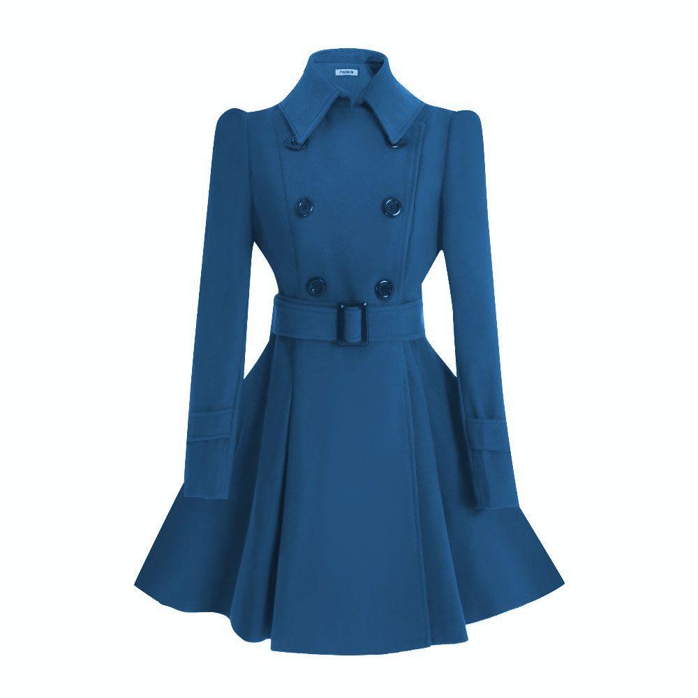 ForeMode Women Woolen Long Sleeve Medium-long Winter Belt Coat Buckle Double Breasted Women Dress Wool Coat Solid Long Coat
