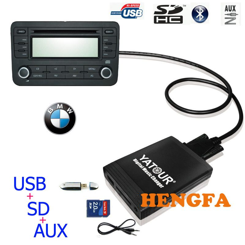 Yatour Car Digital  Music Changer USB MP3 AUX adapter  For 1991-2006 BMW 3pin+6pin X5 X3 M3 M5  yt-m06
