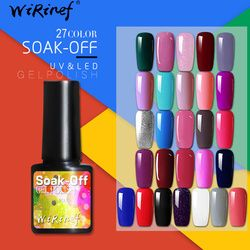 WiRinef 8 ml Pur Couleurs Gel Nail Polish Long Lasting Gel Vernis UV & LED Semi Permanent Coloré Gel Laque