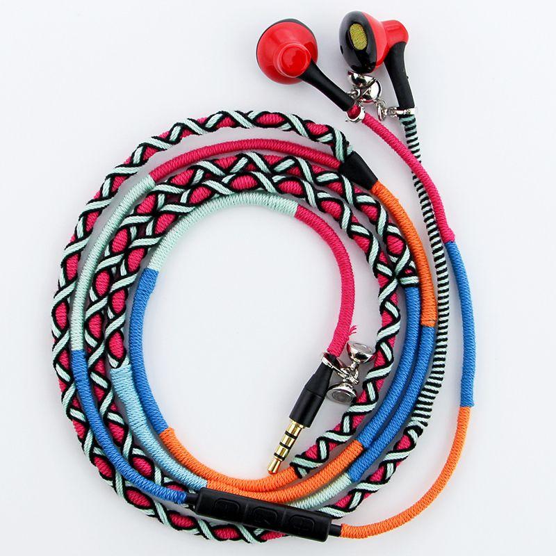 URIZONS wired earphones 3.5mm jack Handmade Rope headset Braided Wearable Stereo bracelet Sport bass earphones for iphone PC