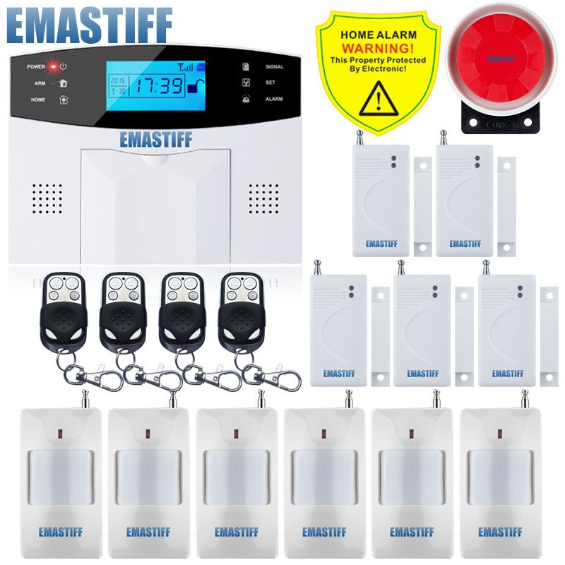 Free Shipping!IOS Android APP Control Wireless Home Security GSM Alarm System Intercom Remote Control Autodial Siren Sensor Kit