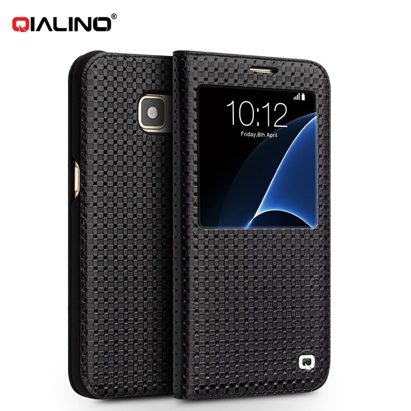 QIALINO Luxury Coque S-View Flip Cover for Samsung Galaxy S7 / S7 Edge G930 G935 Genuine Leather Wake up / sleep Smart Case
