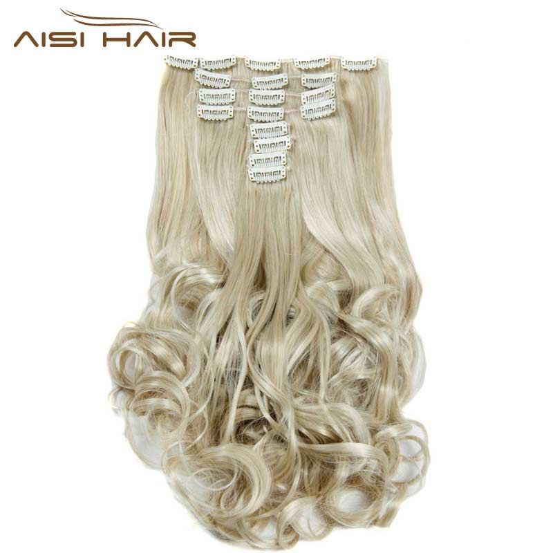 Je de une perruque Synthétique 18 Clips en Extension De Cheveux 8 pcs/ensemble 22 pouces Long Ondulé Blonde Postiche