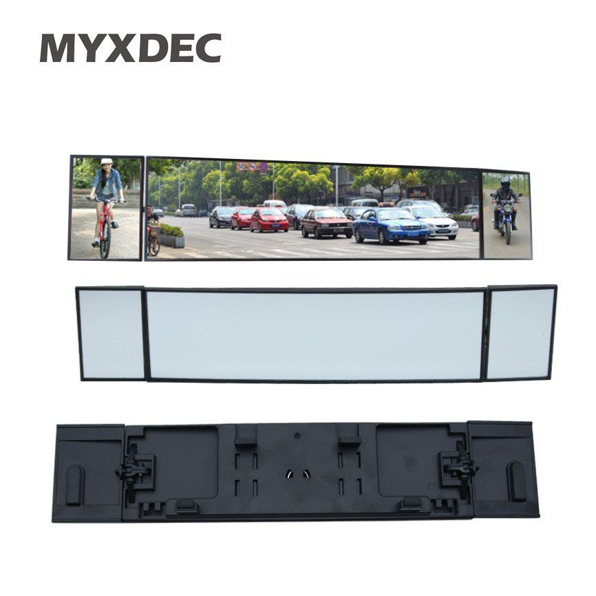 Universal Car Rear View Mirror Wide <font><b>Angle</b></font> Panoramic Anti-dazzling Interior Rearview Mirror Large Vision 380mm Curved Mirror
