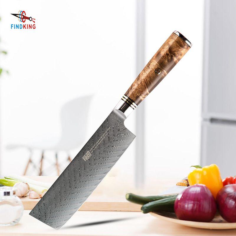 FINDKING AUS-10 damascus steel Sapele wood handle arrow pattern damascus knife 6.5 inch chef knife 67 layers nakiri