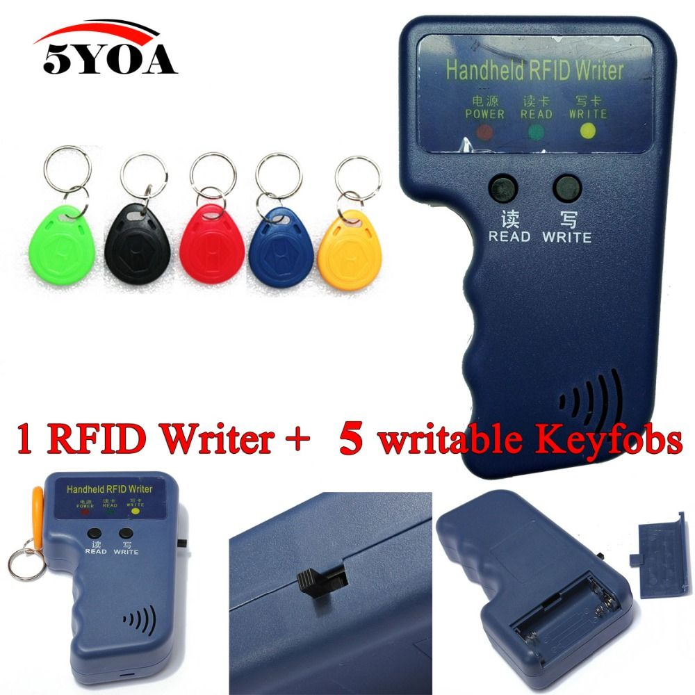 Handheld 125KHz EM4100 RFID Copier Writer Duplicator Programmer Reader + 5 Pcs EM4305 T5577 Rewritable ID Keyfobs Tags Card