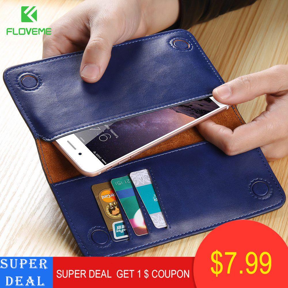 FLOVEME 5.5 pouces universel portefeuille pochette étui pour iPhone 6 6 s Plus en cuir véritable pour iPhone 7 7plus 8 8plus étui en cuir véritable