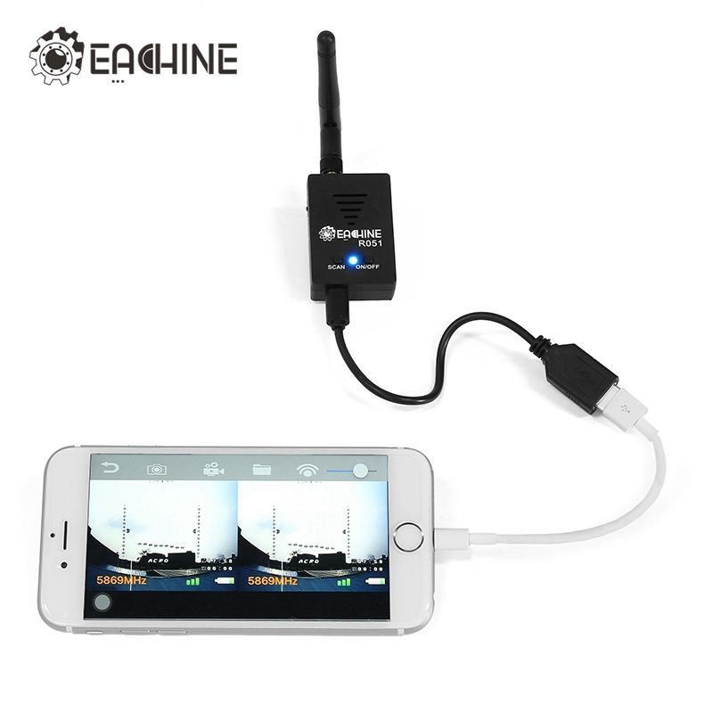 In Stock! Eachine R051 150CH 5.8G FPV AV Recevier Build in Bat For iPhone Android IOS Smartphone Mobile Tablet VS ROTG01 UVC OTG