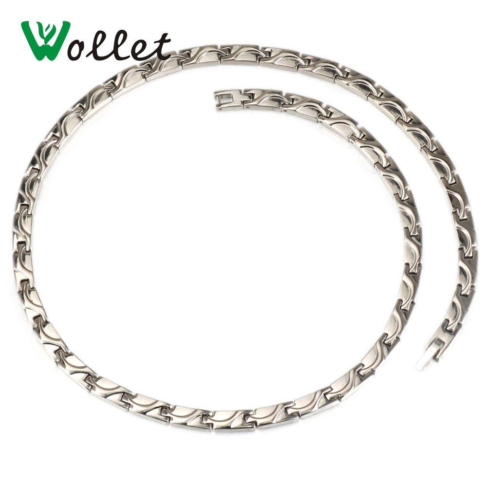Wollet bijoux couleur or énergie de santé coréen 5mm titane négatif Ion infrarouge Germanium collier pour hommes femmes