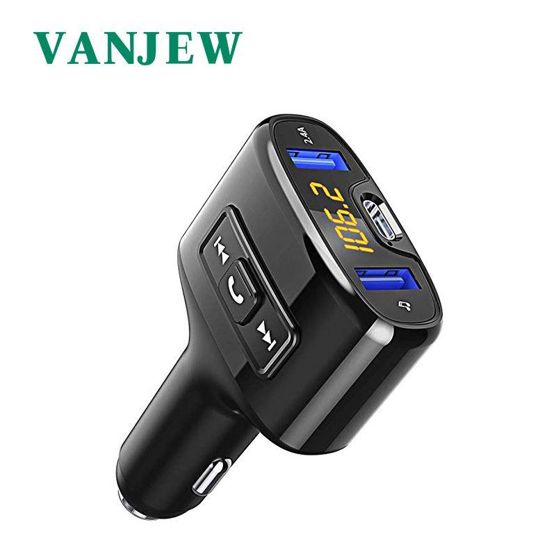 Vanjuif C52 voiture accessoires mains libres Bluetooth voiture Fm émetteur voiture lecteur Mp3 TYPE-C Charge à jeun Audio double USB voiture Charge