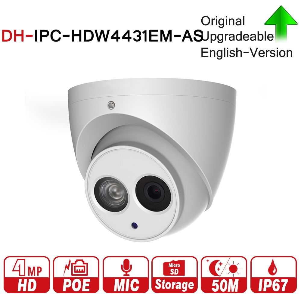DH IPC-HDW4431EM-AS with logo original 4MP Eyeball Network IP Camera Built-in Mic 50m IR Micro Sd Card Detect IP67 H265 WDR PoE+