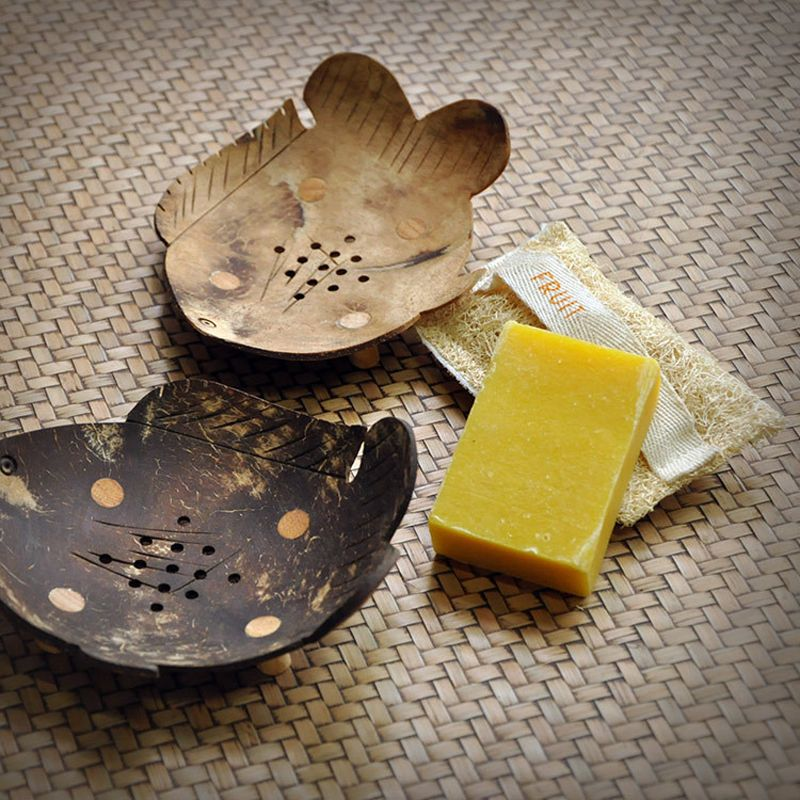 Creative Thailand Wood Soap Box Handmade Coconut Shells Soaps Dishes Storage Holder Drain Soap Stand Bath Shower Plate Bathroom