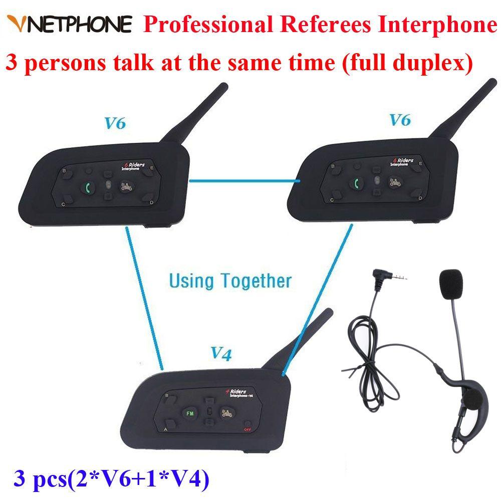 Vnetphone Marke 1200 mt Vollduplex-kommunikation Headset 3 Fahrer Sprechen Für Football Schiedsrichter Beurteilen Biker Wireless BT Intercom