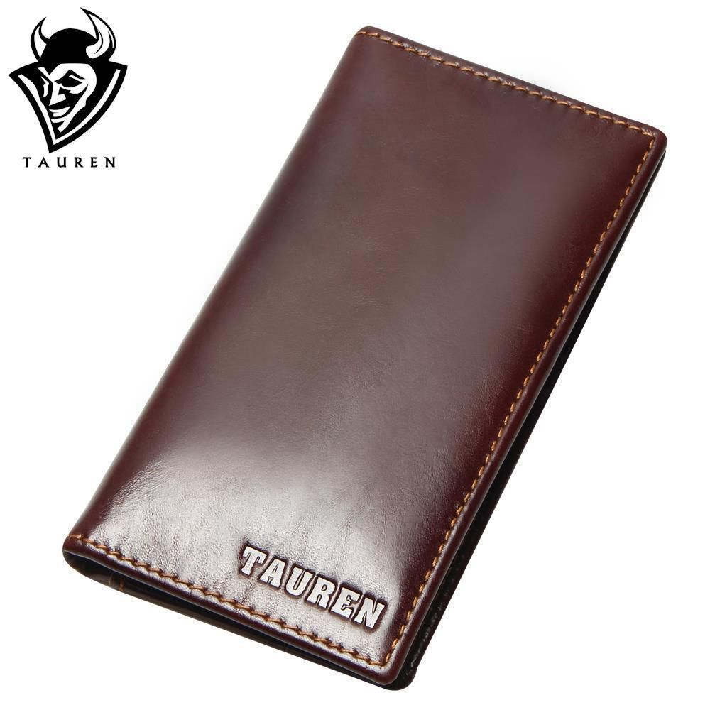 New RFID Blocking 100% Genuine Leather Men's Slim Wallet Long Bifold Cowhide Card Holder RFID Protection Male Purse